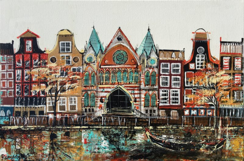 CITY ABSTRACT AMSTERDAM LARGE PAINTING