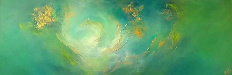 LARGE abstract panoramic painting by gill luff