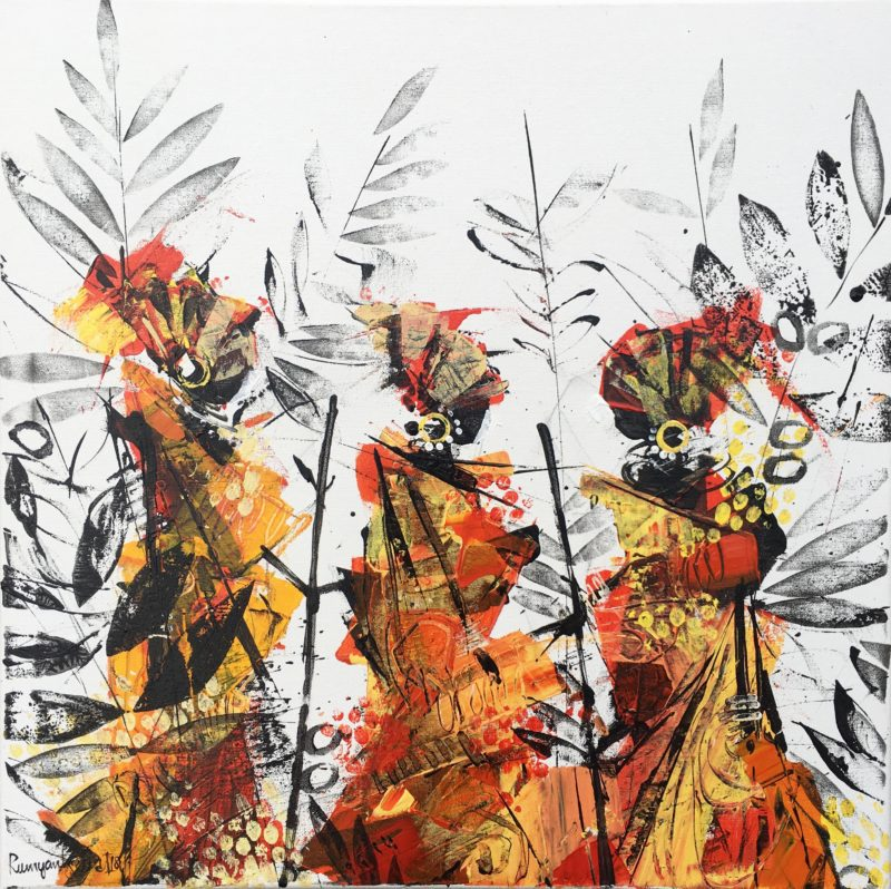 heavily textured painting of african tribal women
