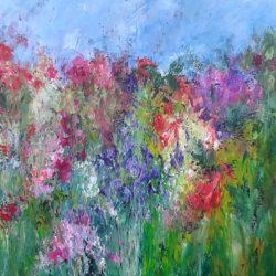 textured impressionist garden painting
