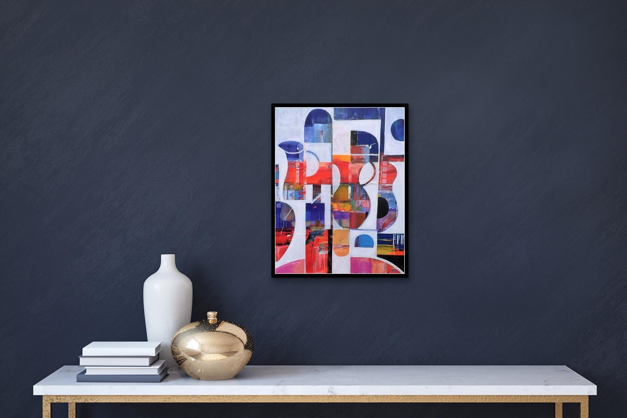 Framed Abstract Painting Dark Wall
