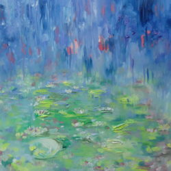 impressionistic painting of waterlilies by lesley blackburn