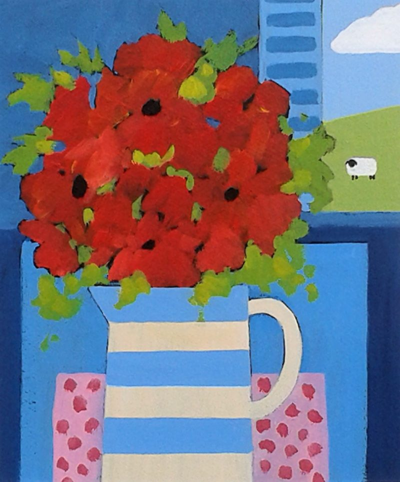 RURAL BLISS RED FLOWERS IN A CORNISHWARE JUG
