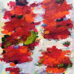 LARGE RED ABSTRACT FLORAL PAINTING