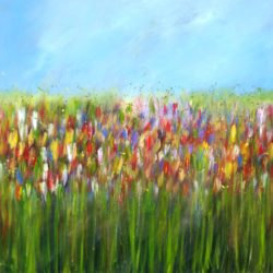 LARGE meadow flowers painting acrylics on canvas large painting ready to hang