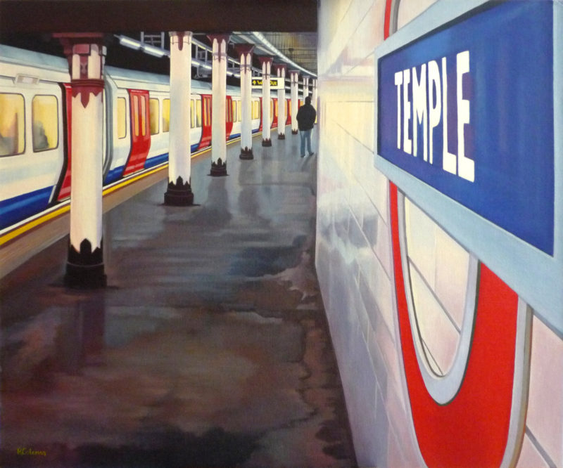 original painting of london temple tube station