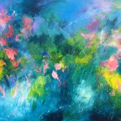 abstract floral garden painting