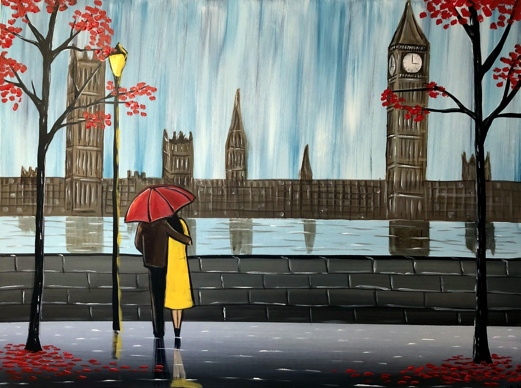Lovers in Rainy London painting