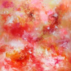 LARGE RED PINK ABSTRACT PAINTING BY PARESH NRSHINGA