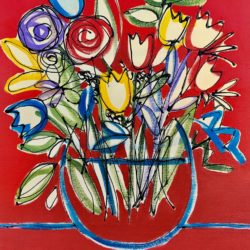 spring flowers on red original painting by jan rippingham