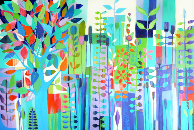 LARGE abstract garden painting by carolynne coulson
