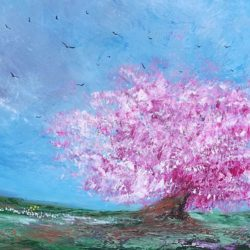 panoramic cherry blossom painting by artist melanie graham at rippingham art