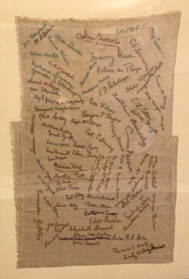 suffragette embroidered cloth Holloway prison