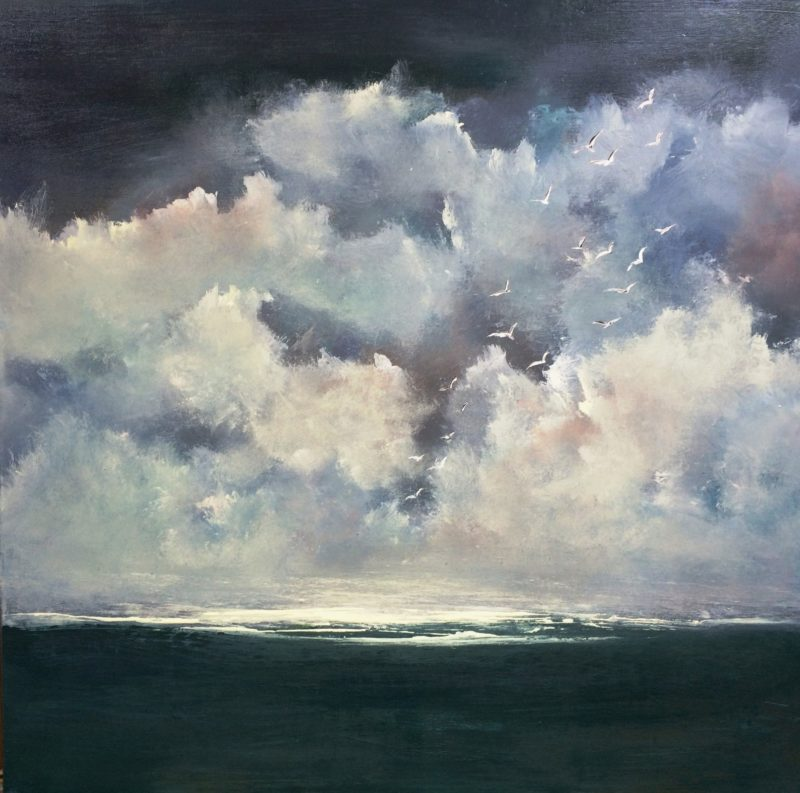 seascape painting. Sky sea and clouds. Art by Maxine Martin