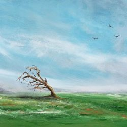 the storm is over panoramic landscap painting by artist melanie graham