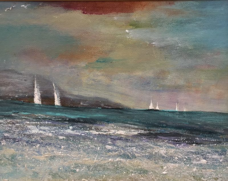 original seascape painting with yachts