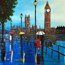 LARGE PAINTING LONDON CITYSCAPE TO BUY BY AISHA HAIDER