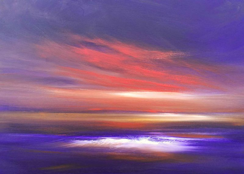 tranquil times purple sunset over the sea painting