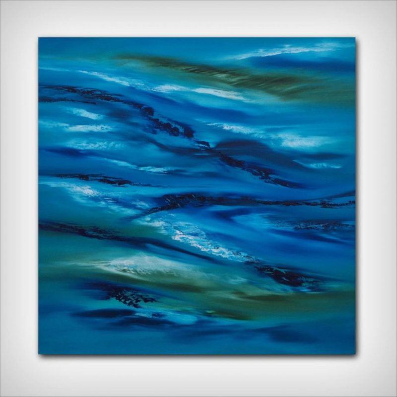 blue abstract painting by artist davide de palma