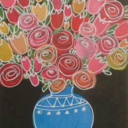 spri in a blue vase original painting by jan rippingham on bockigford watercolour paperng flowers
