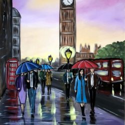 london painting of big ben at sunset