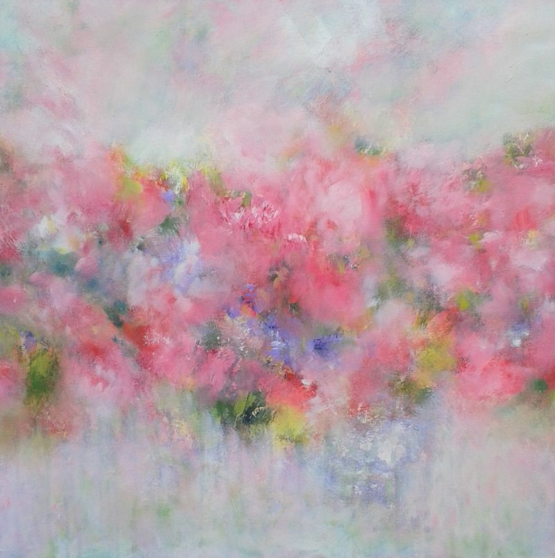 pink floral painting of meadow