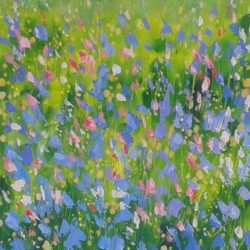 Impressionist floral meadow painting