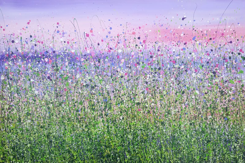 purple sunset floral painting by artist lucy moore