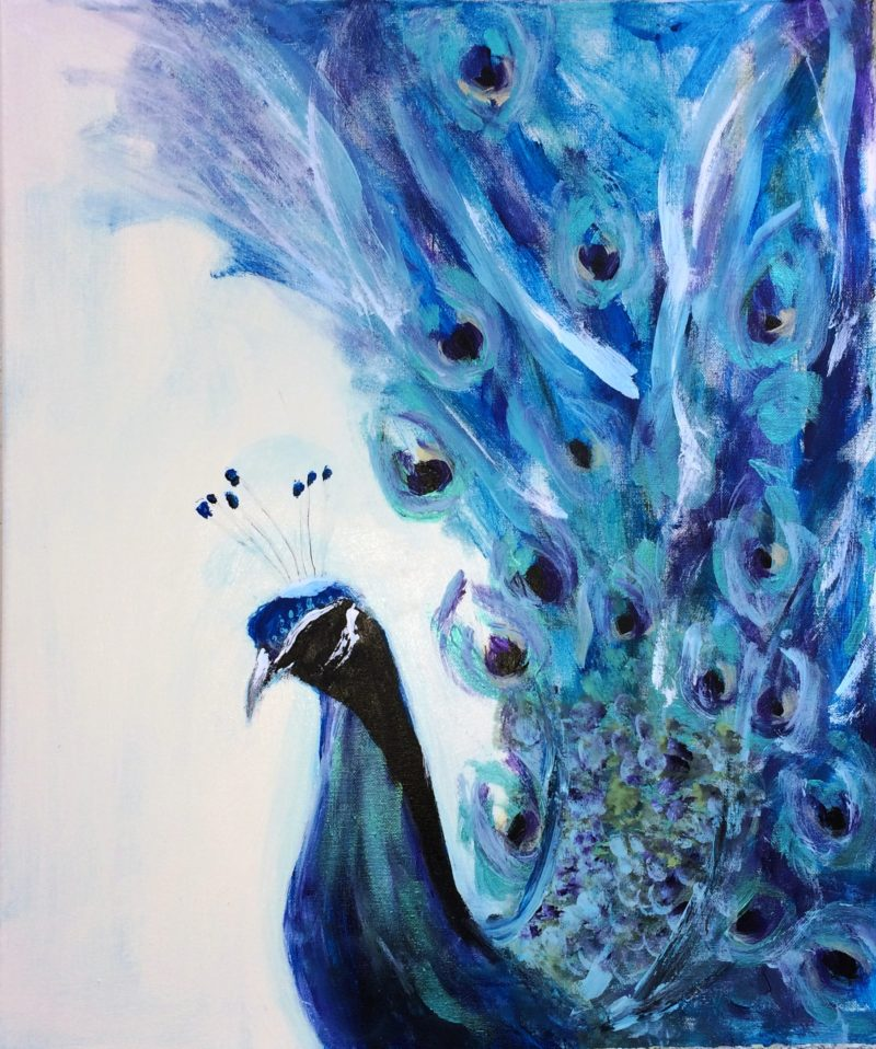 blue peacock painting by maxine martin