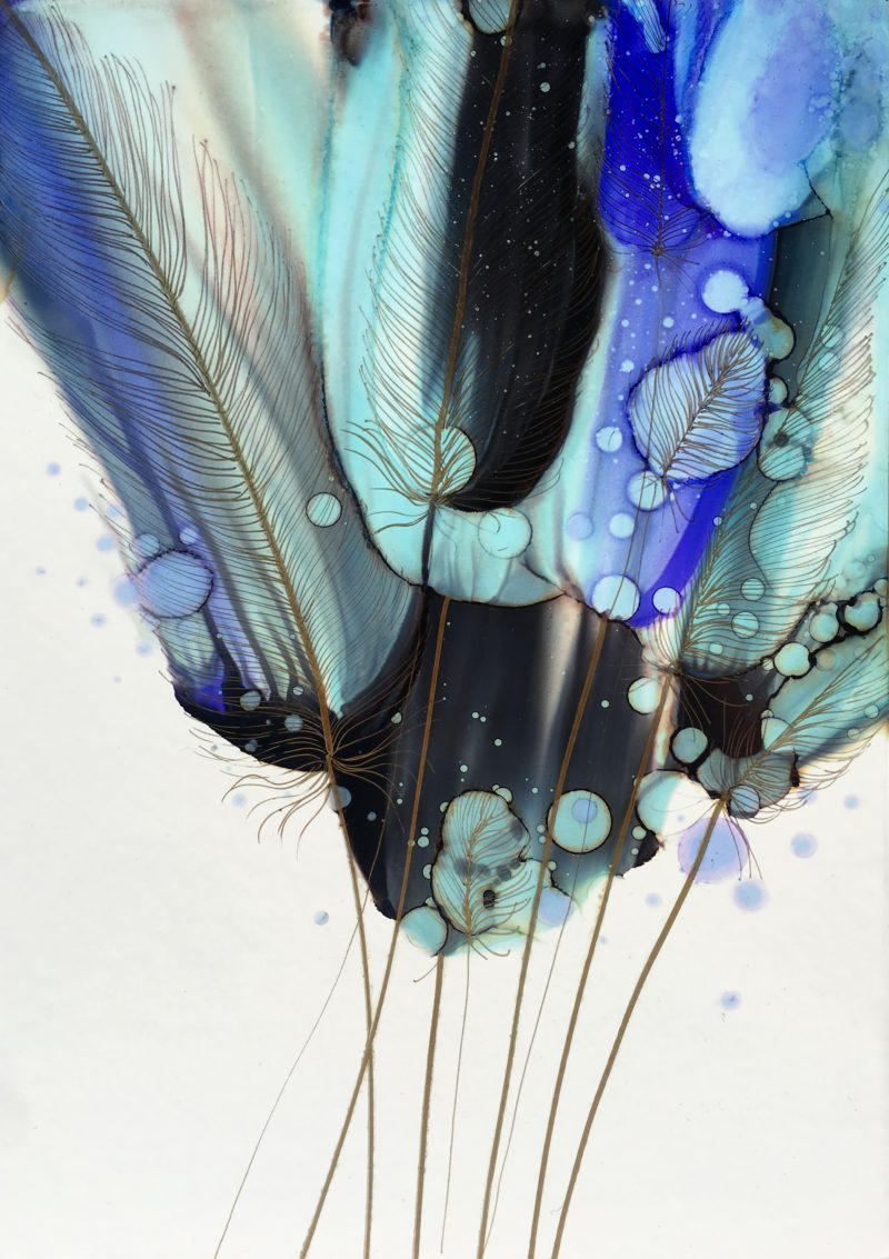 blue abstract painting by irina rumyantseva