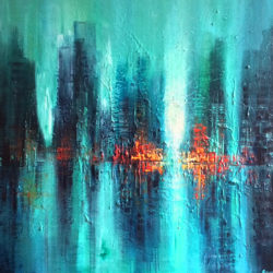 abstract cityscape painting in turquoise