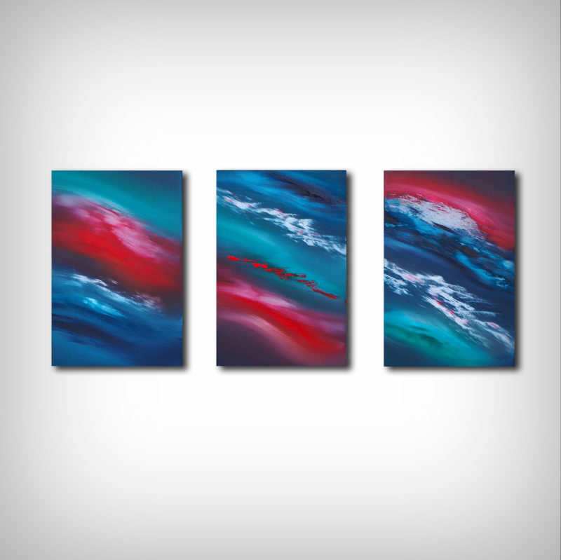 abstract triptych by artist davide de palma