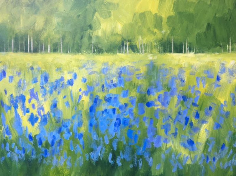 jan rippingham impressionistic painting acrylics on canvas ready to hang landscape green and blue