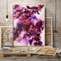 pink and purple abstract painting for sale by veronica vilsan