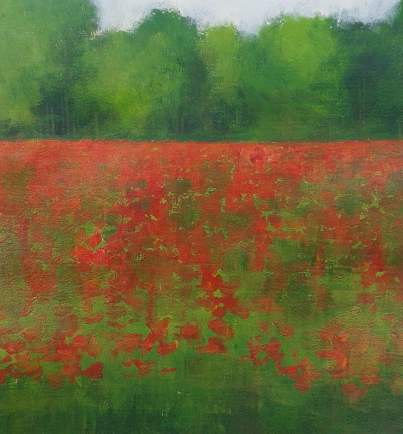 POPPIES FIELDS LANDSCAPE ORIGINAL ART JAN RIPPINGHAM