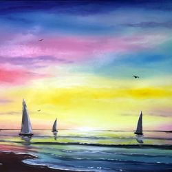 LARGE LANDSCAPE SEASCAPE PAINTING WITH BOATS