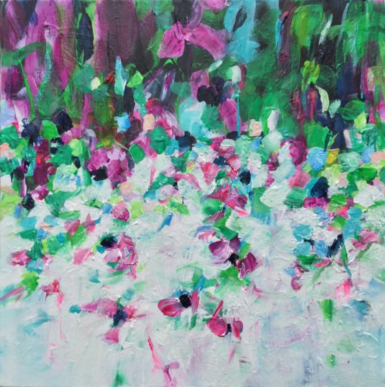 abstract floral painting for sale by michelle carolan