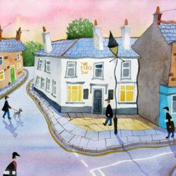 affordable art original watercolour naive northern art