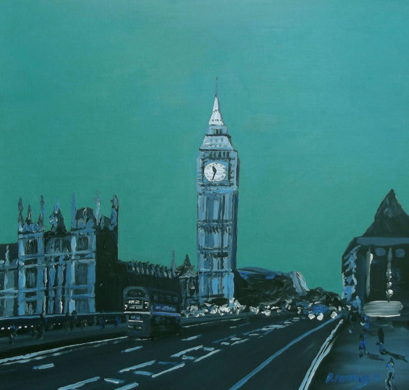 painting of london at night with big ben
