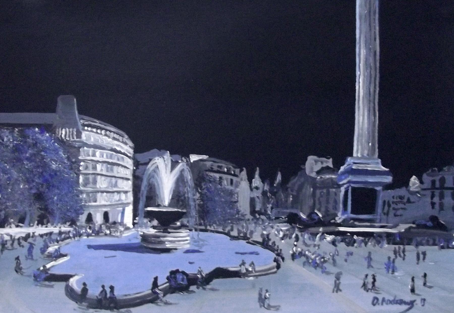 trafalgar square at night painting by darren andrews