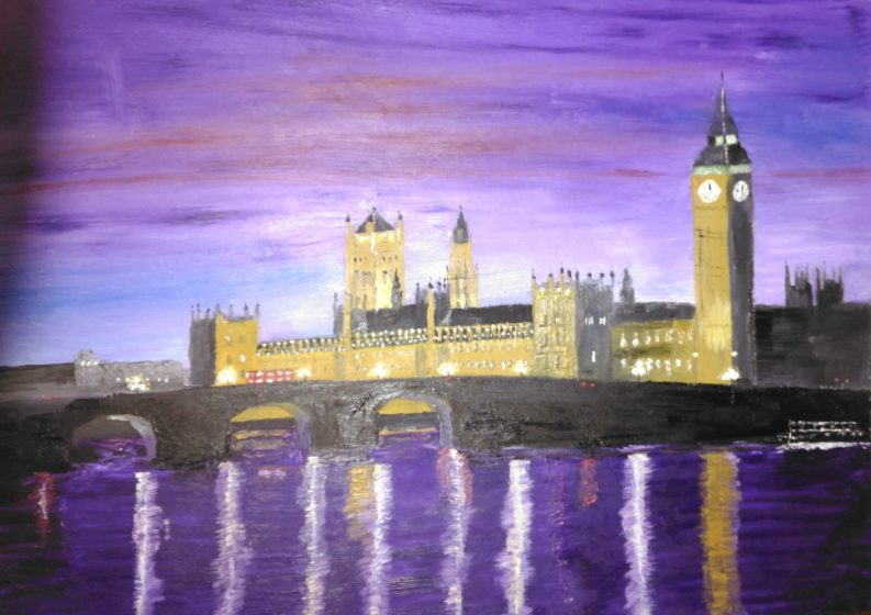 painting of westminster at night by artist will moody