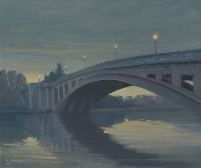 reading bridge at night painting by artist richard picton