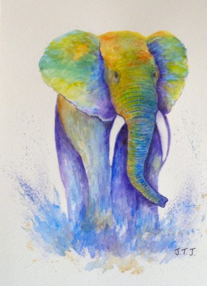 playful elephant painting by jean tatton jones