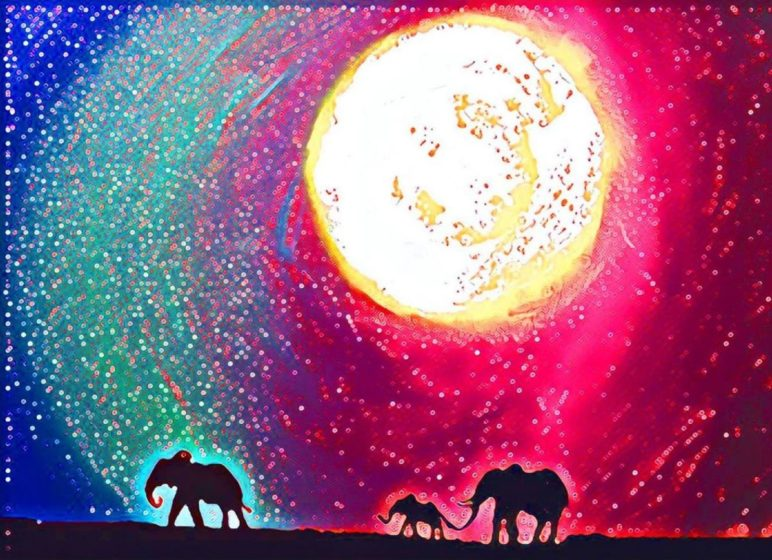 colourful semi abstract elephant painting