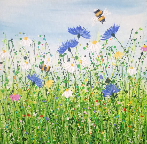 floral bee painting by lucy moore