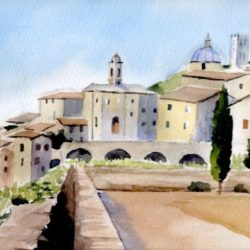 watercolour painting of umbria, italy