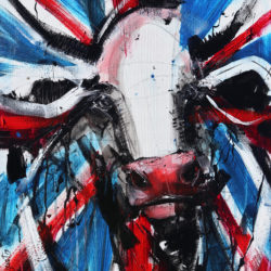 union jack brit pop art cow painting