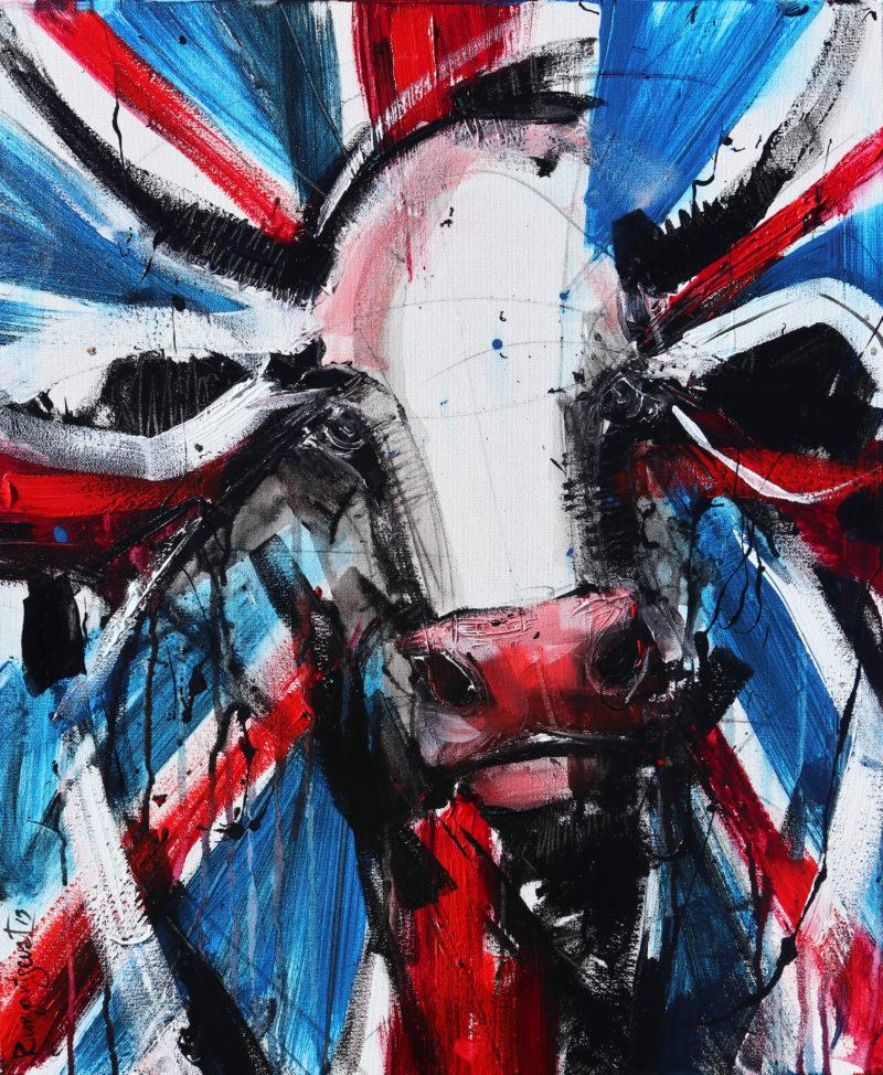 union jack brit pop art cow painting