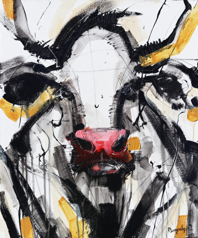 Cow painting by irina rumyanseva