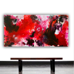 large red abstract painting on canvas ready to hang